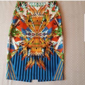 Multi color pencil skirt